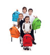 Group of happy kids with colorful school bags