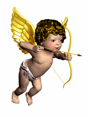 Cupid angel with bow and arrow