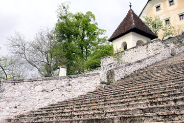 staircase leading to Bled castle