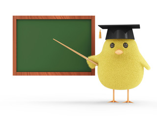 Little Chicken Teacher near Blank Chalkboard