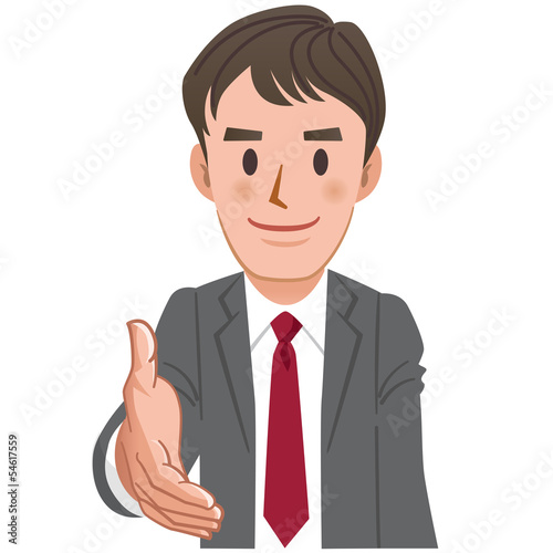 ビジネス 握手 Cartoon Businessman extending for a handshake