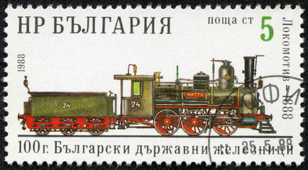 stamp printed in Bulgaria, shows old steam locomotive 1888