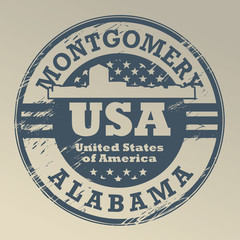 Grunge rubber stamp with name of Alabama, Montgomery