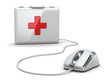 Online first aid. Mose and medical kit.