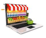 Fototapety 3d supermarket laptop