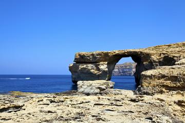 Azure Window, famous stone arch on Gozo island, Malta.
