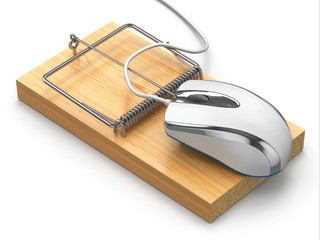 Concept of internet security. Computer mouse and mousetrap.