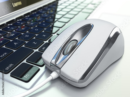Computer mouse on laptop keyboard. 3d