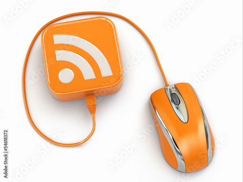 Computer mouse and rss sign. Three-dimensional concept.