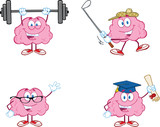 Brain Cartoon Mascot Collection 2