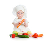 cook baby girl eating healthy food isolated on white