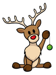 cute reindeer with Christmas bulb