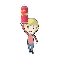 Kid holding a spray color. Vector design.