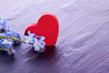 blue myosotis flower with red wooden heart decoration