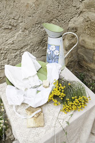 Pitcher and handmade soap