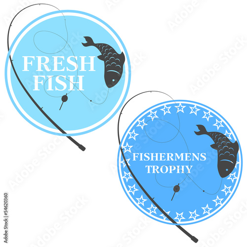 design emblem for fishing, fishing rod and fish