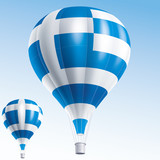 Vector illustration of hot air balloons as Greece flag