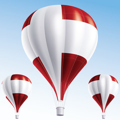 Vector illustration of hot air balloons painted as Denmark flag