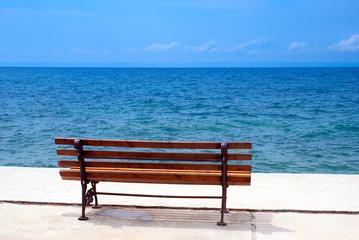metal garden chair at the beach, Greece