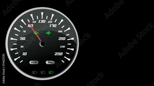 Needle in animation on car speedometer