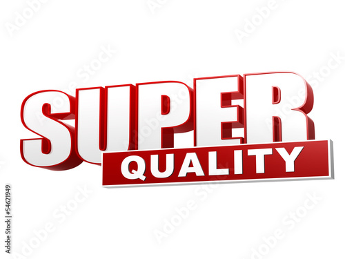 super quality red white banner - letters and block