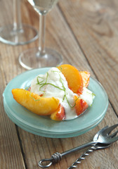 Caramelized Peaches with lime yogurt creme