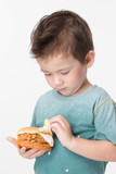 Boy eating a burger