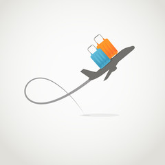 Vacation illustration. Jet with two color bags