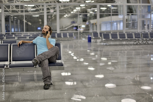 talking on phone at airport