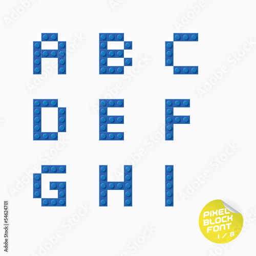 Unique Pixel Block Alphabet With Sticker
