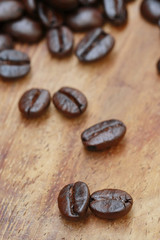 coffee seed on wooden table