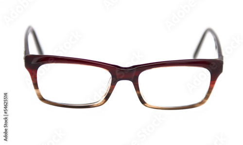 Brown glasses isolated on white.