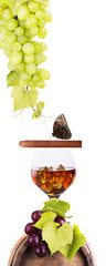 Cognac and Cigar on white with vintage barrel