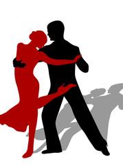 Schwungvolle Tango Sihouette mit Schatten
