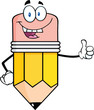 Happy Pencil Cartoon Character Giving A Thumb Up