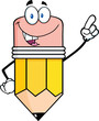 Smiling Pencil Cartoon Character Pointing With Finger