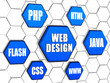 web design - words cloud in blue hexagons