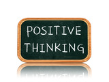 Positive thinking on blackboard banner