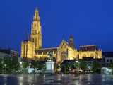 Cathedral and statue of Peter Paul Rubens in Antwerp at evening