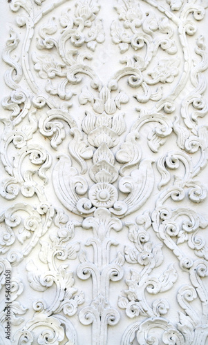 White thai art stucco wall, temple