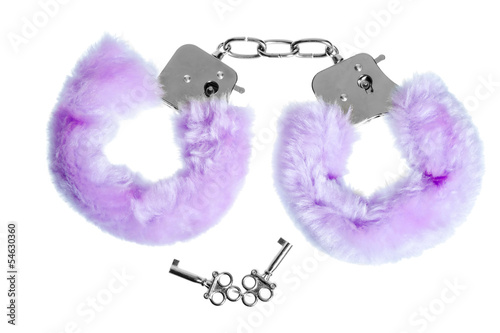fur handcuffs with a key to love games