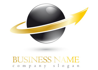 Business logo 3D gold spherel design