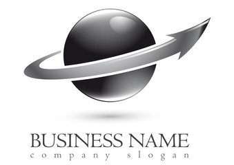 Business logo 3D silver sphere design