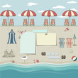 Beach Umbrellas and Lounge Chairs Background