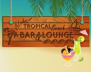 Tropical Beach Bar Wood Board Signpost