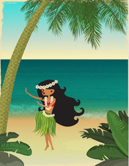 Hawaii, Tropical Paradise Poster with Hula Dancer