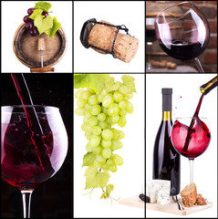 red and white wine with champagne collage