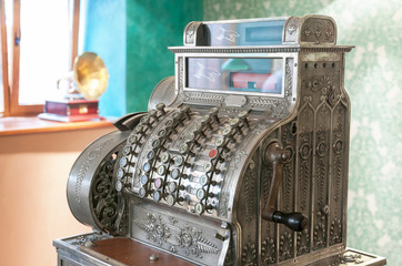 old cash register and gramophone