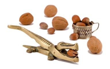nut crack crush tool cobnut walnut isolated