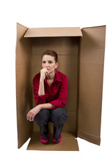 Businesswoman Feeling Boxed In